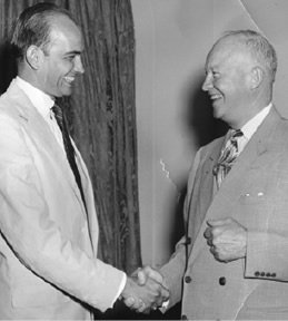 Congressman Wampler greets President Dwight D. Eisenhower. This postcard was distributed to local voters in 1954.